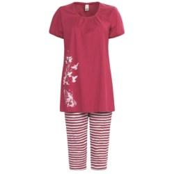 Calida Morning Glow Capri Pajamas - Interlock Cotton, Short Sleeve (For Women)