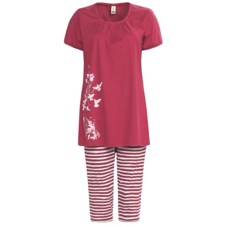 Calida Morning Glow Capri Pajamas - Interlock Cotton, Short Sleeve (For Women)