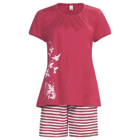 Calida Morning Glow Short Pajamas - Interlock Cotton, Short Sleeve (For Women)