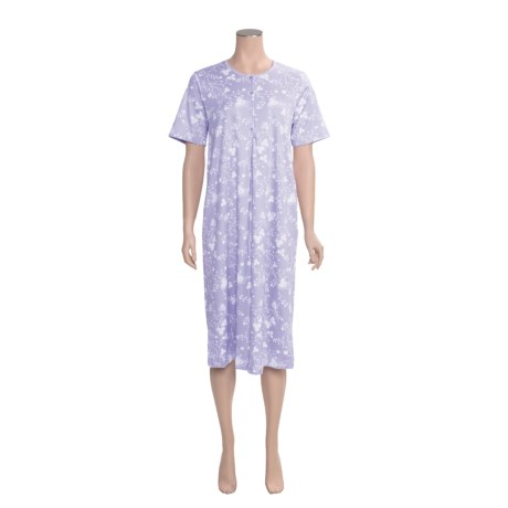 Calida Anemone Night Gown - Interlock Cotton, Short Sleeve (For Women)