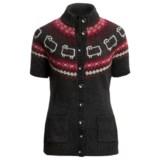 Woolrich Summer Sweater - Lambswool, Button Front, Short Sleeve (For Women)
