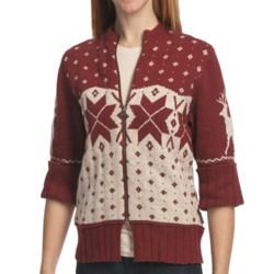 Woolrich Fair Isle Cardigan Sweater - 3/4 Sleeve, Zip Front (For Women)