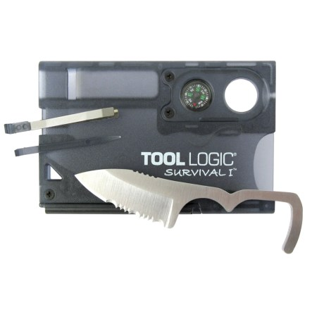 Tool Logic Survival Card - Fire Starter, Compass