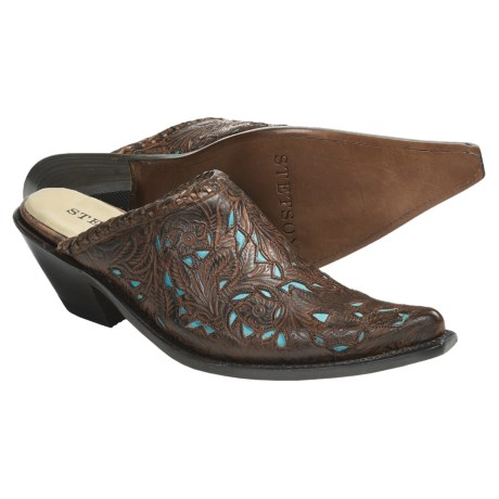 Stetson Hand-Tooled Leather Mules - Pointed Toe, Slip-Ons (For Women)