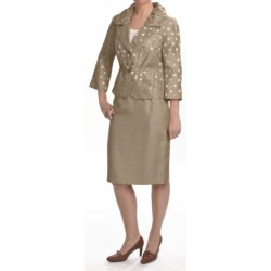 Isabella Pleated Skirted Suit -3/4 Sleeve (For Plus Size Women)