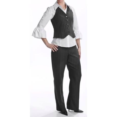 Isabella Pinstripe Pantsuit - Vest and Blouse (For Women)