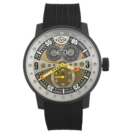 GV2 by Gevril Powerball Big Date Sport Watch - PVD Coated, Rubber Strap