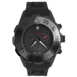 GV2 by Gevril Parachute Chronograph Watch - PVD Coated, Rubber Strap