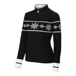 Neve Joy Ice Crystals Merino Wool Sweater - Zip Neck (For Women)