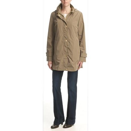 Ellen Tracy Outerwear Faux-Silk Rain Coat - Button-Out Liner (For Women)