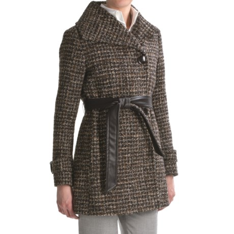 Ellen Tracy Outerwear Belted Wrap Coat - Textured Wool, Wing Collar (For Women)