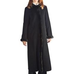 Ellen Tracy Outerwear Wool Maxi Coat - Tuxedo Faux-Fur Trim (For Women)