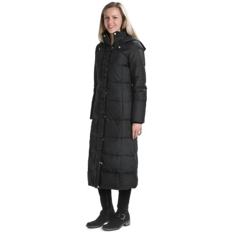 Ellen Tracy Outerwear Maxi Hooded Down Coat - Ruffle Front Detail (For Women)