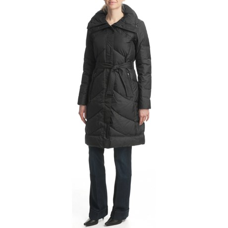 Cole Haan Chevron-Quilted Down Coat - Belted (For Women)