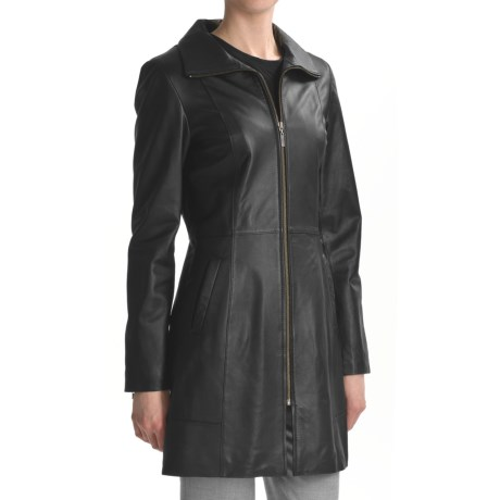 Cole Haan Smooth Lamb Leather Coat (For Women)