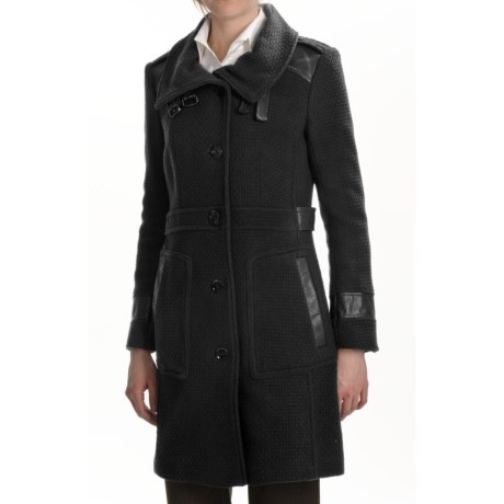 Cole Haan Textured Wool Coat - Leather Trim (For Women)