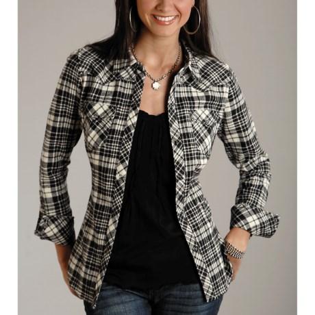 Stetson Black Plaid Shirt - Flannel, Long Sleeve (For Women)