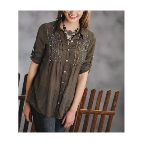 Roper Native Heritage Crepe Tunic Shirt - Long Sleeve (For Women)