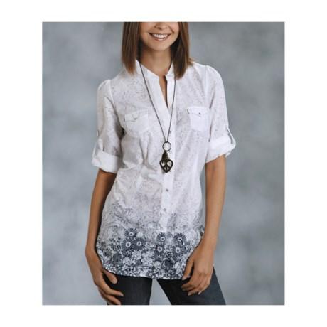 Roper Diva Floral Burnout Tunic Shirt - 3/4 Sleeve (For Women)