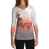 Roper Electric Spirit Black Horses Shirt - 3/4 sleeve (For Women)