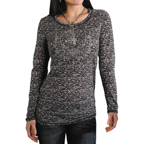 Roper Five Star Starry Night Burnout Shirt - Long Sleeve (For Women)