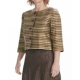 Louben Crinkle Linen Crop Jacket - 3/4 Sleeve (For Women)