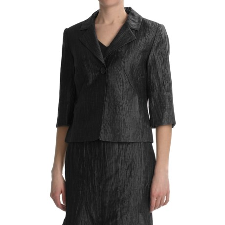 Louben Crinkle Linen Blazer - 3/4 Sleeve (For Women)