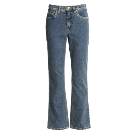 Washed Denim Jeans - Straight Leg (For Women)