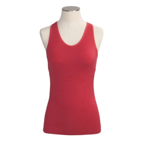 Climawear Seamless Floral & Lines Workout Tank Top - Built-In Bra (For Women)