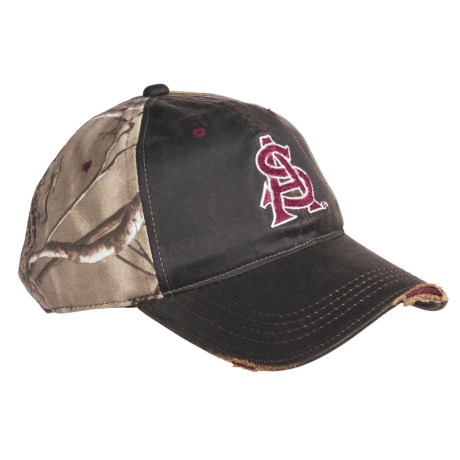 Outdoor Cap College Team Cap - 3D Logo, 6-Panel, Distressed Bill (For Men)