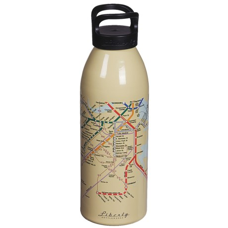 Liberty Bottle Works Water Bottle - 32 oz., BPA-Free, Maps Collection