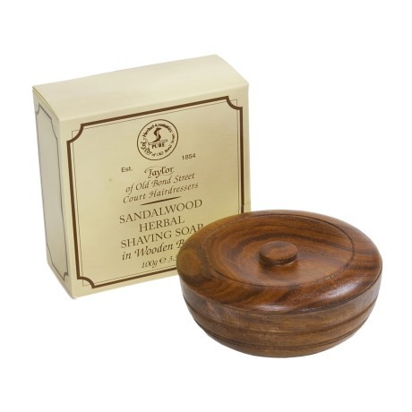 Taylor of Old Bond Street Sandalwood Soap with Wooden Bowl