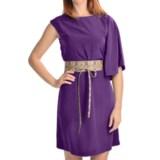 Chetta B One-Shoulder Bat Wing Dress - Belted, Sleeveless (For Women)