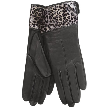 Cire by Grandoe Dali Leather Gloves - Lambswool-Cashmere Lining (For Women)