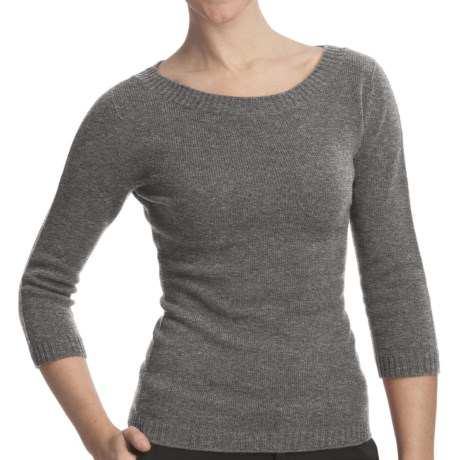 Johnstons of Elgin Boat Neck Sweater - Cashmere (For Women)