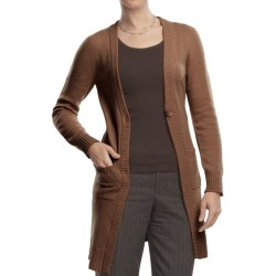 Johnstons of Elgin Long Cardigan Sweater - Cashmere, One Button (For Women)