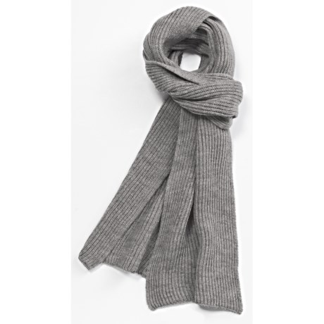 Johnstons of Elgin Rib-Knit Scarf - Merino Wool (For Men and Women)