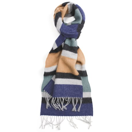 Johnstons of Elgin Lambswool Stripe Scarf (For Men)