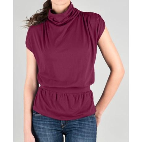 Lilla P Draped Turtleneck - Pima Cotton-Modal, Short Sleeve (For Women)