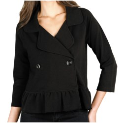 Lilla P Ruffled Crop Jacket - Stretch French Terry, 3/4 Sleeve (For Women)