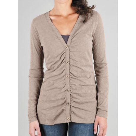 Lilla P Flame Ruched Cardigan Sweater - Pima Cotton Slub (For Women)
