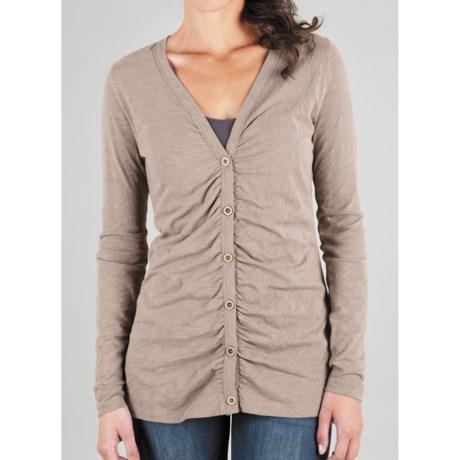 Lilla P Flame Ruched Cardigan Sweater - Pima Cotton Slub (For Women)