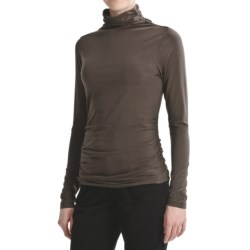 Lilla P Funnel Neck Shirt - Stretch Pima Cotton, Long Sleeve (For Women)