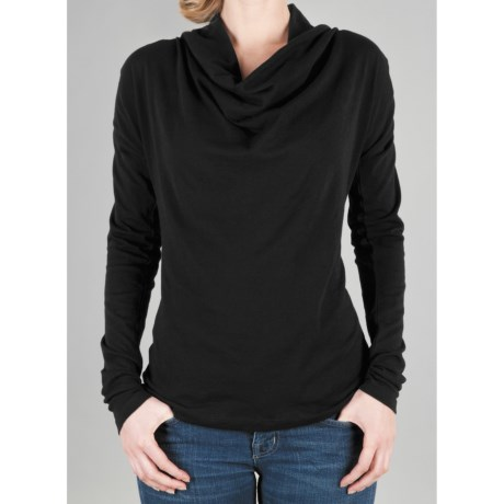 Lilla P Drape Neck Shirt - Pima Cotton, Long Sleeve (For Women)