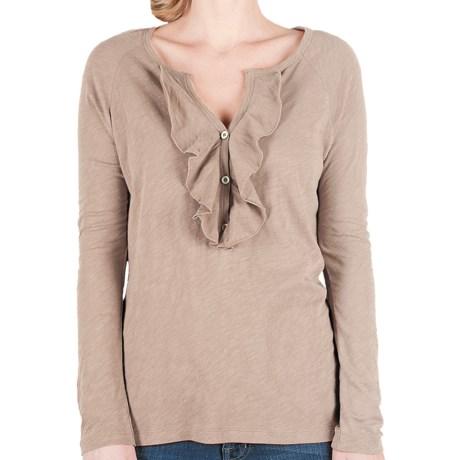Lilla P Flame Ruffle Placket Henley Shirt - Pima Cotton Slub, Long Sleeve (For Women)