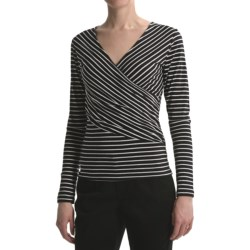 Lilla P Striped Ruched Shirt - Pima Cotton Jersey, Long Sleeve (For Women)