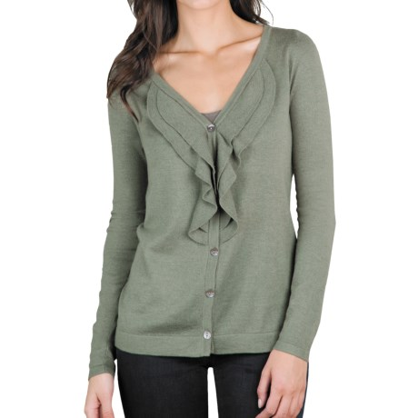 Lilla P Ruffled Cardigan Sweater - Cotton-Modal-Cashmere (For Women)