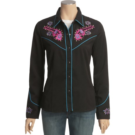 Scully Guns and Stars Embroidered Shirt - Long Sleeve (For Women)