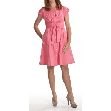 Chetta B . Cotton Poplin Shirt Dress - Tie Belt, Short Sleeve (For Women)