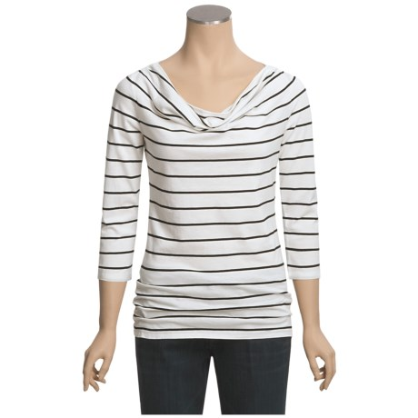 Specially made Pima Cotton Stripe Shirt - 3/4 Sleeve (For Women)